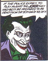 Comic-book panel of the grinning Joker