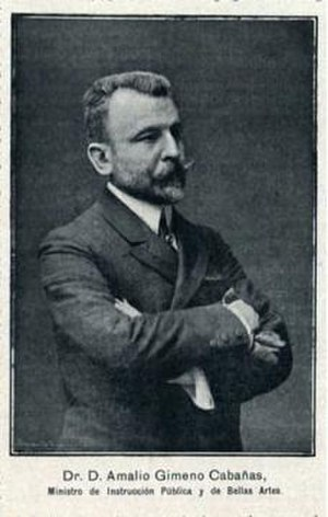 Amalio Gimeno, 1st Count of Gimeno - The Count of Gimeno, as Minister of Gobernation of Spain