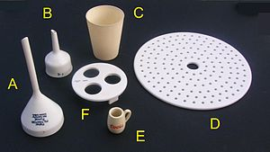 CoorsTek - Figure 1: CoorsTek ceramic products. All are glazed porcelain except C. A Fisher filtration funnel; B Buchner funnel; C 99.8% alumina crucible; D Desiccator plate; E Commemorative thimble-size stein for brewery visitors; F 95-mm diameter crucible rack.
