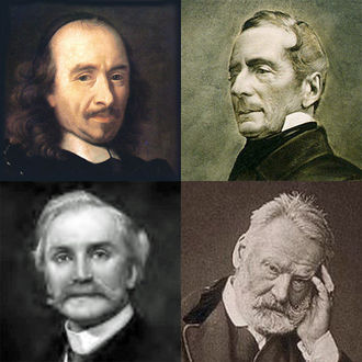 Pierre Corneille, Alphonse de Lamartine, Victor Hugo and Herman Klein, whose words Saint-Saens set in songs and choral works Corneille-Lamartine-Hugo-Klein.jpg