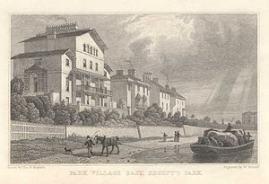 "Cumberland Market - Park Village East from the Cumberland Arm. From an original study by Thomas Hosmer Shepherd (1793–1864), pub 1831. Produced from Shepherd's series ""Metropolitan Improvements; or London in the Nineteenth Century""."