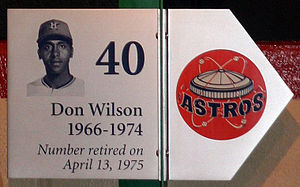 Don Wilson (baseball) - Plate honoring Don Wilson on the Houston Astros Wall of Honor at Minute Maid Park