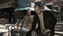 The player character sitting next to the main antagonist, at a bench on the side of the road.