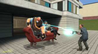 Garry's Mod - Screenshot from Garry's Mod showing a player posing the Heavy and Soldier from Team Fortress 2