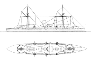 Italian cruiser Giovanni Bausan - Line-drawing of Giovanni Bausan