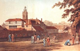 Great Ealing School - Schoolboys with hoops painted by W. J. Franklin in 1809