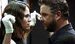 A sizzling moment between Grissom and Sara Sidle on the 4th season episode