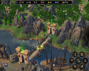 Heroes of Might and Magic V - Map view of a bastioned bridge across a river.