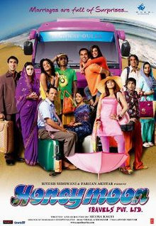 The poster features entire cast and behind them is pink-coloured bus. At the bottom title of film appears.