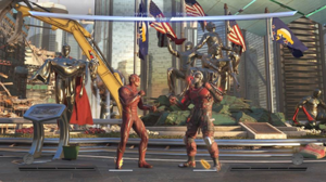 Injustice 2 - A gameplay screenshot of the Flash and Deadshot on the Metropolis stage.