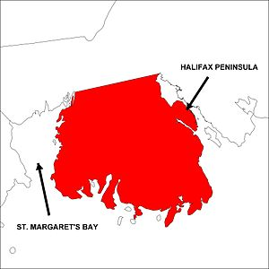 Chebucto Peninsula - Image: Map highlighting the Chebucto Peninsula