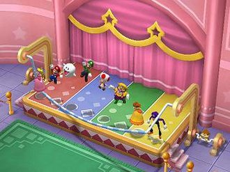 Party game - Mario Party 7, a party game for the GameCube, allows many established Mario characters to compete in minigames together.