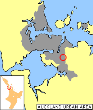 Location of Otara in Auckland.