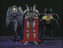 Three animated characters—a girl with dark red hair in a tall black humanoid robot's domed cockpit, a tall armored blue-haired man, and a purple-haired man with robotic spider legs on his back and a box in his hands—stand side-by-side.