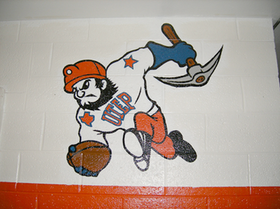 UTEP's older version of Paydirt Pete, as seen from the UTEP locker room in Sun Bowl Stadium