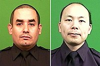 Official New York City Police Department portraits of Rafael Ramos and Wenjian Liu, who were killed in a shooting on December 20, 2014