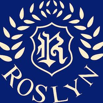 Roslyn Elementary School - Roslyn School Gold logo on Navy background.