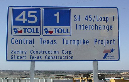 SH 45 was built on a fast-track basis with bonds sold in advance based on the projected toll revenues. SH45 sign-don.jpg