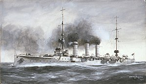 SMS Mainz - Illustration of Mainz by Oscar Parkes, 1910