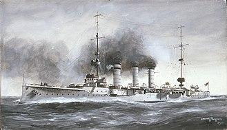 SMS Mainz - Illustration of Mainz by Oscar Parkes, 1910