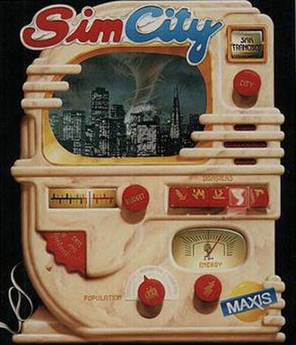 SimCity (1989 video game) - One of the various cover arts for SimCity features a jukebox-like design featuring a city being destroyed by a Tornado (A disaster in-game). The first version of this boxart uses the Godzilla-like Monster seen in-game as a disaster, but was changed to the Tornado to avoid legal action with Toho, who own the Godzilla franchise.