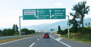 European route E65 - E-65 near Skopje, Republic of Macedonia.