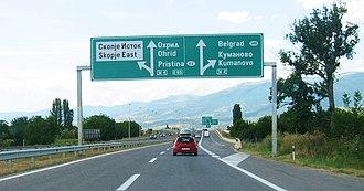 European route E65 - E-65 near Skopje, Republic of Macedonia.