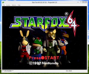 Video game console emulator - Project64 running Star Fox 64 on Windows 8.