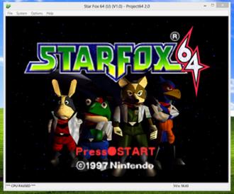 Video game console emulator - Project64 running Star Fox 64 on Windows 8