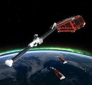 Swarm (spacecraft) - Artist's view of the three Swarm spacecraft
