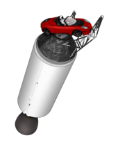 Illustration of Elon Musk's Tesla Roadster attached to the upper stage of a Falcon rocket, with a driver wearing a white-and-black spacesuit in the driving seat and the Earth visible in the background.