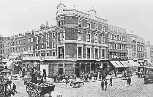 The Angel, Islington - View of the Angel, Islington from the southeast, in the late 1890s