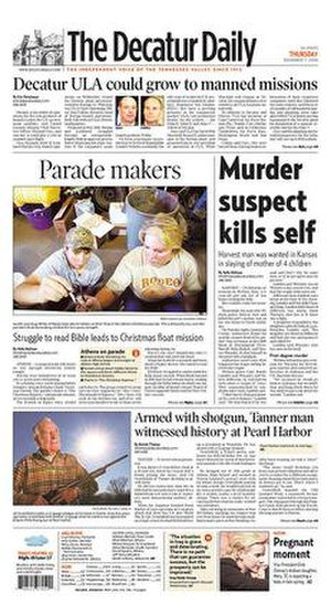 The Decatur Daily - Image: The Decatur Daily front page
