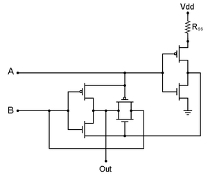 XOR gate - Transmission Gate Logic wiring of an XOR gate