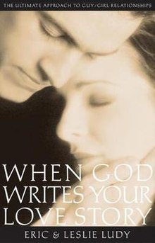 "A sepia-tone, soft-focus photograph of two human faces, one male and one female. The words ""WHEN GOD WRITES YOUR LOVE STORY"" are superimposed in white."