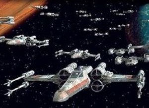 X-wing fighter - T-65B X-wing fighters (the Red Squadron) in Star Wars (1997 Special Edition). BTL Y-wings (the Gold Squadron) are visible at the center right.