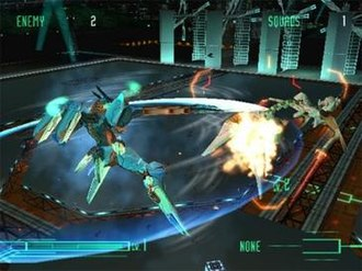 Zone of the Enders (video game) - Jehuty defeats an enemy Raptor with its blade. The green bar shows Jehuty's health while the top shows the remaining enemies.