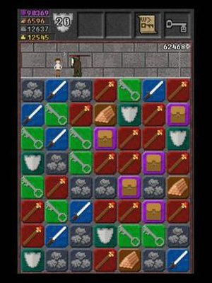 10000000 (video game) - In 10000000, the player must help an adventurer (on the top of the screen) fight their way through an infinite dungeon using the tile-matching game shown at the bottom of the screen.