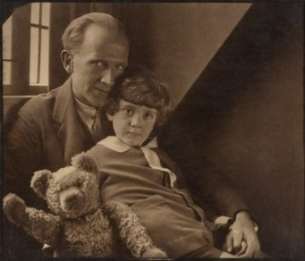 A. A. Milne with his son Christopher Robin Milne and Pooh Bear - Howard Coster - NPG P715