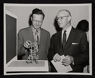 Ibram Lassaw - Ibram Lassaw and Charles C. Withers, 1955 Sep 13 / unidentified photographer. American Federation of Arts records, Archives of American Art, Smithsonian Institution.