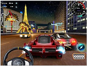 Asphalt 5 - Gameplay showing the virtual steering wheel control option; the brake is on the right, above it is the turbo button.