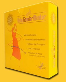 The Baby Gender packaging is a yellow box featuring a woman and the symbols for male and female gender