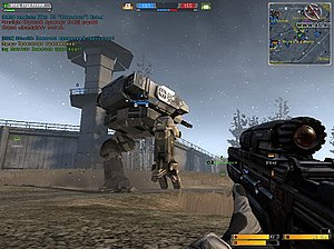 Battlefield 2142 - The player character is looking towards an armoured walker that is being piloted by another player.