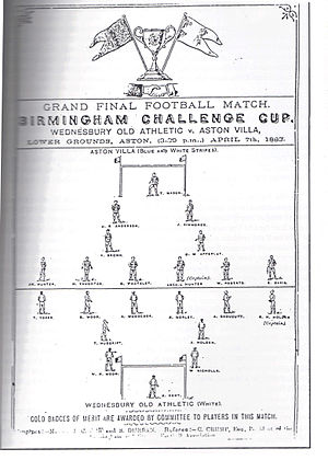 "Wednesbury Old Athletic F.C. - The programme for the 1883 Birmingham Senior Cup final between the ""Old Uns"" and Aston Villa"