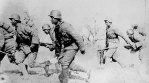 Battle of Xinkou - Chinese troops going into battle in Xinkou