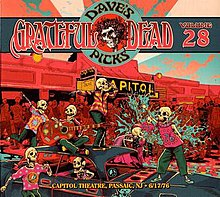 A crowd of skeletons celebrates in front of the Capitol Theatre, with the Grateful Dead listed on the marquee