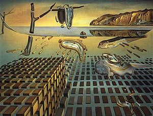"The Disintegration of the Persistence of Memory (1954) was Dalí's way of ushering in the new science of physics above psychology   סאלבדור דאלי ויקיפדיה האינצקלופדיה החופשית ארה""ב"