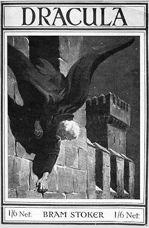 Castle Dracula - Dracula climbing down the wall of his castle, book cover 1916