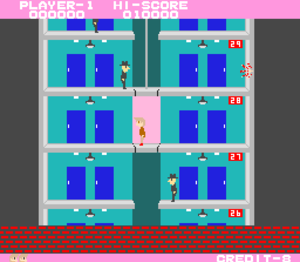 Elevator Action - Screenshot of the first level of Elevator Action
