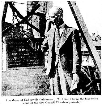 Municipality of Erskineville - Mayor Elliott laying the foundation for the new Town Hall, 1 December 1937, as published in the Sydney Morning Herald.